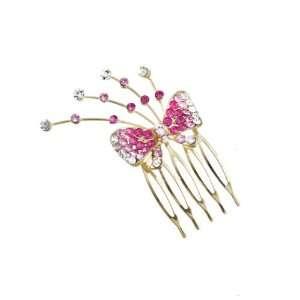Cazech Rhinestone Ribbon Decorative Side Comb Pink Beauty