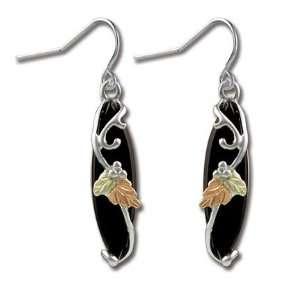 Landstroms Black Hills Gold & Silver Onyx Earrings