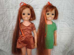 Vintage Grow Hair Ideal 1969 CRISSY 2 Doll Lot VGC!