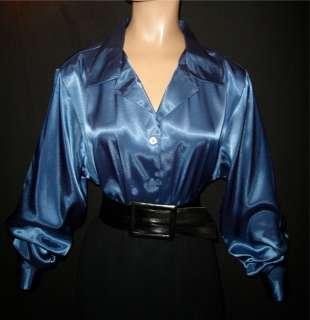 3X FRENCH BLUE Shiny LIQUID SATIN Lapel BLOUSE 22W/24W Shirt Top Vtg