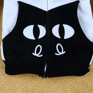 Womens Girls Cute Ears Smile Cats Zipper Cotton Hoodie Jacket