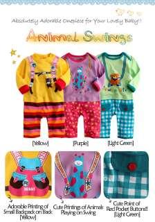 NWT Newborn & Baby Girl Boys Cute Bodysuit  Animal Swings