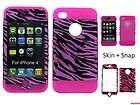 FOR IPHONE 4G 4S HYBRID SOFT HARD PINK HOT ZEBRA PHONE CASE COVER SKIN