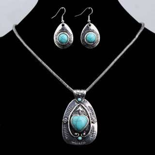 Tibet silver Round Heart Turquoise Blue Chain Necklace Earrings Set