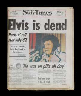 Elvis Presley Death Chicago Newspaper dated Aug 17, 1977 REAL