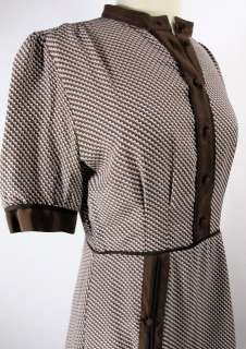 DEREK LAM Brown and White Silk Print Dress