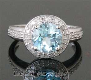 Diamond 2.33ctw  14K WHITE GOLD Engagement Wedding Halo RING Size 7