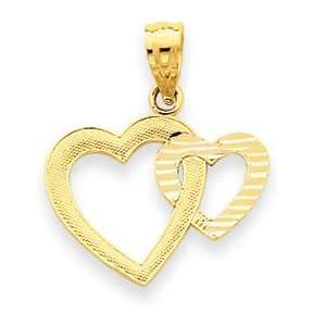14k Yellow Gold Diamond cut Double Heart Pendant Jewelry