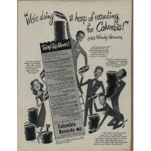 Borge, Harry James and Dorothy Shay.  1947 Columbia Records Ad