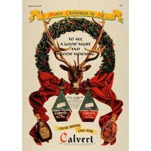 1936 Ad Christmas Reindeer Horn Calvert Reserve Special