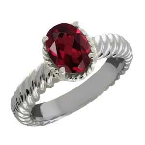 1.40 Ct Oval Red Rhodolite Garnet Sterling Silver Ring