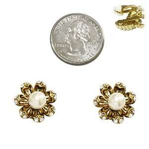 Tone Faux Pearl and Rhinestone Flower Clip On Earrings Fashion Jewelry