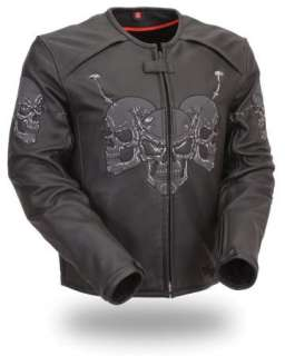Mens Black Leather Raceway Reflective Skull Jacket