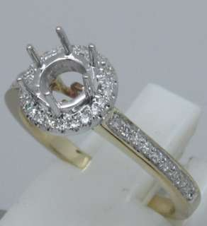 ROUND SOLID 14K Multi Tone Gold DIAMOND SEMI MOUNT RING