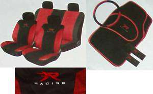 BNEW 13PC RED XR RACING CAR SEAT COVERS + MATS +S/WHEEL