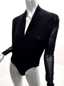 NWOT COSABELLA Black Mesh Long Sleeve Body Suit Italy M