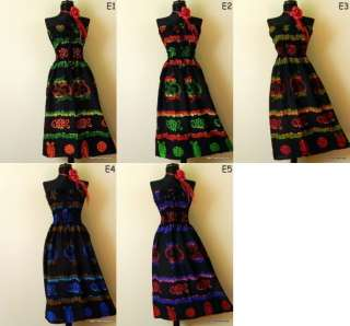 New Hippie Boho Hobo Beach Black Sun Dress Skirt S M L