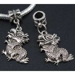 Silver Dragon Dangle Charm Bead for Bracelet or Necklace