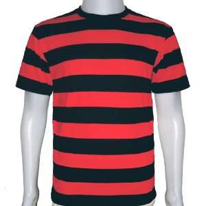 Shirt Short Sleeve Black & Red Stripes Tees New (Size_L) Everything