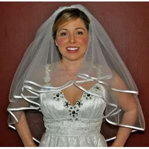 WHITE 2T BRIDAL Wedding Veil with CORDED EDGE Everything