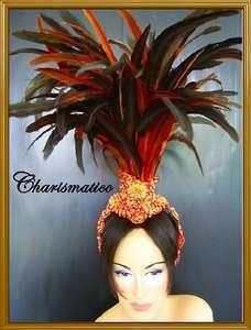ORANGE Drag Queen CABARET Brazilian Feather HEADDRESS