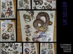 LARGE SHEET BLACK TEMPORARY CHINESE DRAGON TATTOOS BOYS