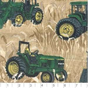 45 Wide John Deere Tractor Print Fabric By The Yard