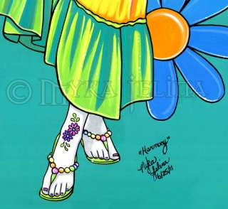 Rainbow Hippie Flower Child Fairy 13x19 PRINT Harmony