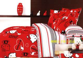 Red Heart Hello Kitty Queen Bed Quilt Cover Set ***