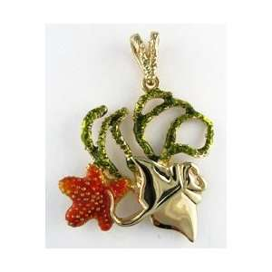 Reyes del Mar 14K Gold Branch Coral with Ray Nautical