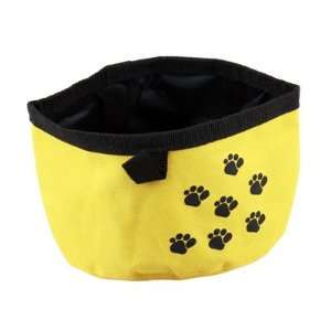 Pet Dog Cat Folding Travel Water Bowl Food Dish Yellow