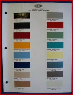 1967 DODGE TRUCK Paint Chip Colors Brochure   DuPont
