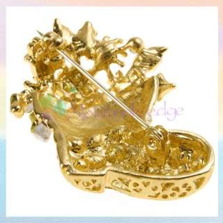 Gold toned Christmas Boot Crystal Brooch Pin Xmas Gift