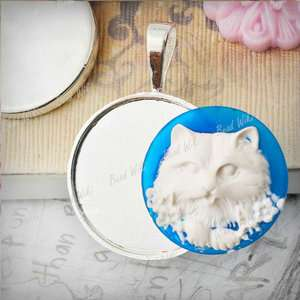 10 Silver Plate Round Style Cameo Cabochon Setting Charm Pendant
