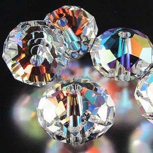 Lots 20pcs Cubic Zirconia Crystal Beads Clear AB 12x9mm