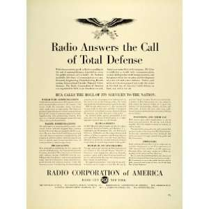 1941 Ad Radio Corporation America RCA Logo Eagle Radio City NY Radio