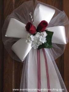 BURGUNDY ROSES WHITE satin ribbon pew bows for events