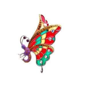 Wing Butterfly Czech Crystal Rhinestone Costume Brooch Pin: Jewelry