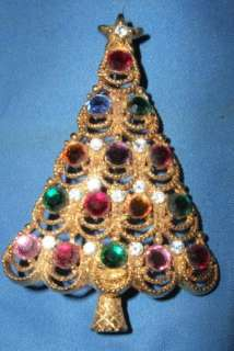 Vintage Eisenberg Ice Rhinestone Christmas Tree BROOCH Pin costume