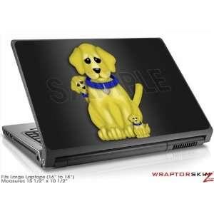 Large Laptop Skin   Puppy Dogs on Black by WraptorSkinz