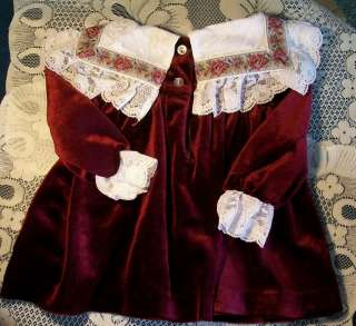 Precious Vintage Baby Girls Dress,Deep Burgandy & lace