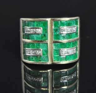 Estate 14K Gold Natural Emerald Diamond Wide Band Ring
