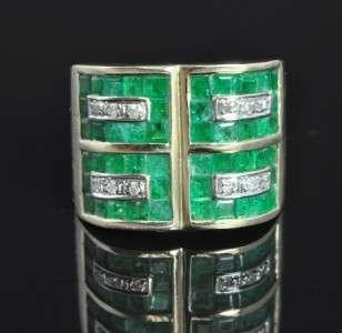Estate 14K Gold Natural Emerald Diamond Wide Band Ring |