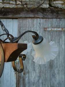 Antique style French Rustic Shabby Chic Wooden & Iron Chandelier Light