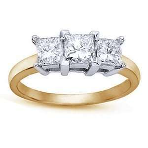 Carat Three Stone Princess Cut Diamond 14k Yellow Gold Engagement Ring