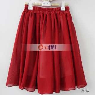 waist pleated double layer chiffon skirt Pompon Mini skirts