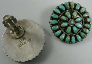 Native American Zuni Indian Petit Point Petitpoint Earrings Turquoise