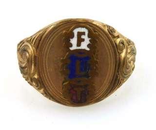 Vintage Victorian Enamel Red White Blue FLT Mens Ring Size 9.5 LOVELY