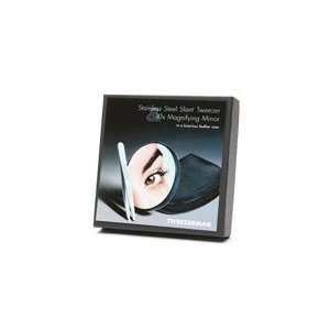 Steel Slant Tweezer & 10x Magnifying Mirror in Luxurious Leather Case