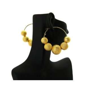 Basketball Wives POParazzi Inspired Matte Ball Hoop Earrings Gold